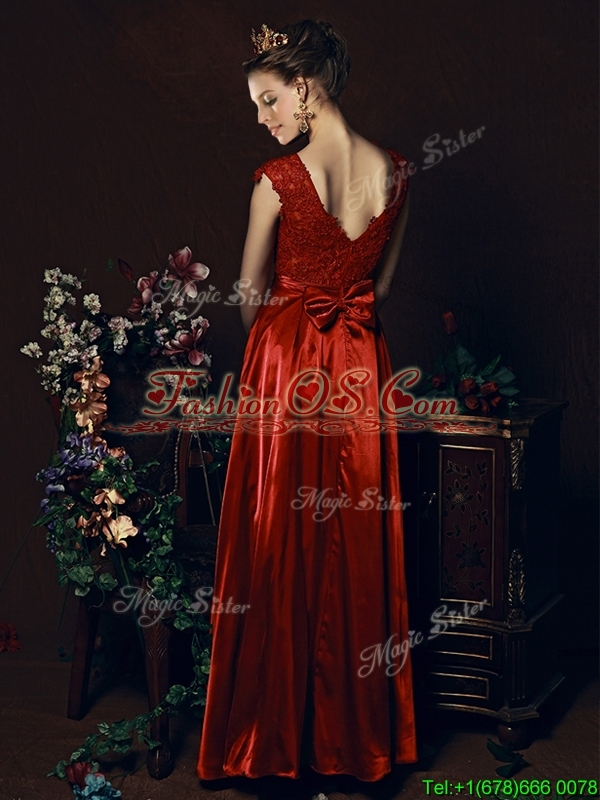 Cheap Scoop Laced and Bowknot Prom Dress in Wine Re
