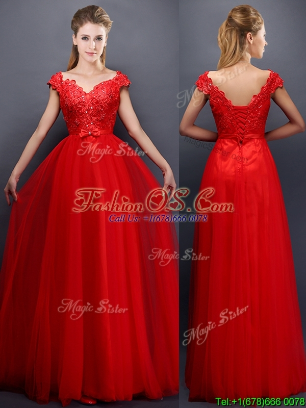 Classical Beaded V Neck Red Prom Dress with Cap Sleeves