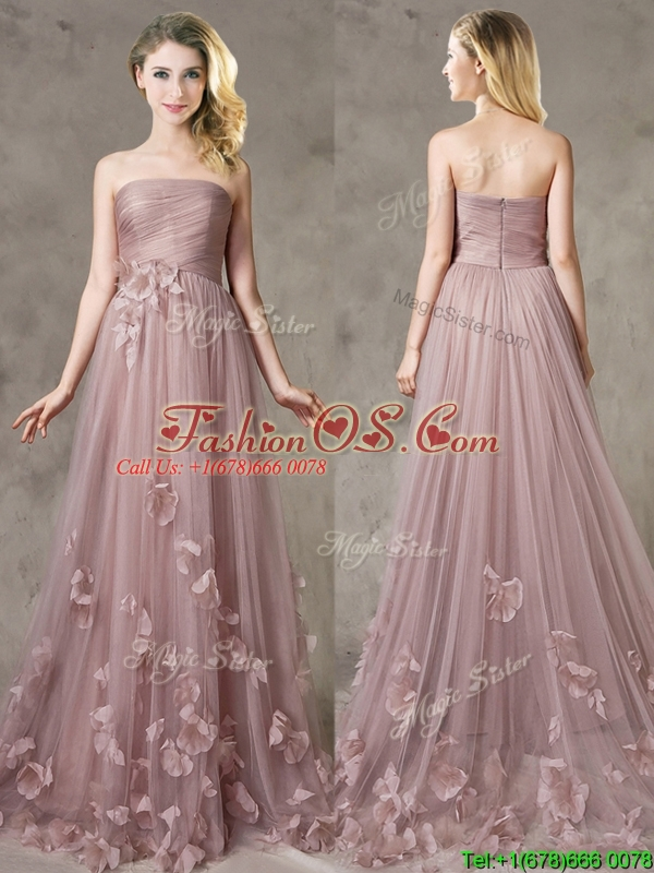 Classical Strapless Brush Train Prom Dress with Appliques
