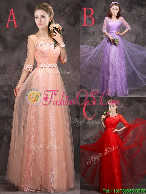 Exquisite See Through Applique and Laced Long Prom Dress in Peach