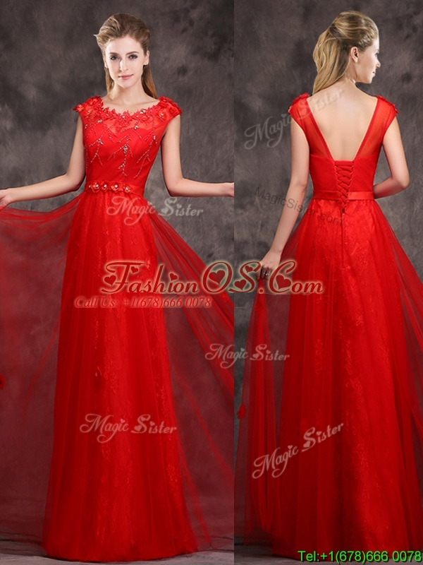 Hot Sale Scoop Red Prom Dress with Beading and Appliques