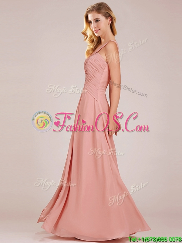 Modern Straps Peach Prom Dress with Ruching and High Slit