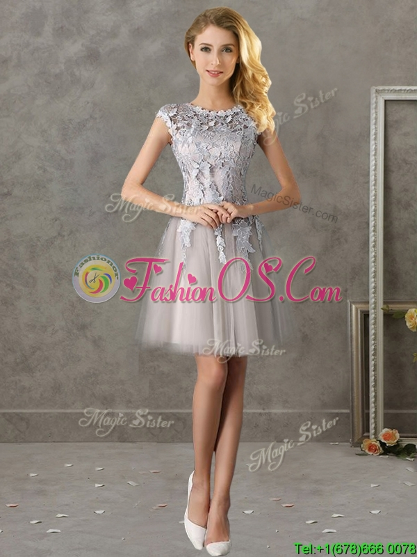 Most Popular Bateau Cap Sleeves Grey Prom Dress with Lace