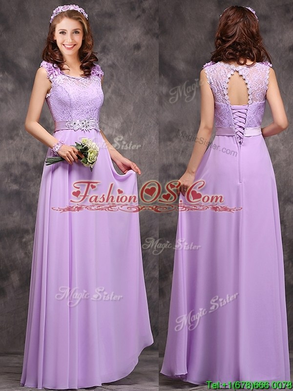 Beautiful Empire Scoop Laced Decorated Bodice Prom Dress in Lavender