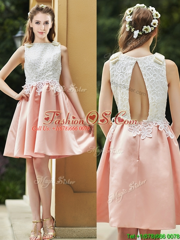 Elegant Bateau Open Back Applique Short Prom Dress in Pink