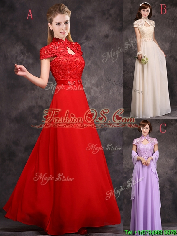 Low Price High Neck Cap Sleeves Lavender Long Prom Dress