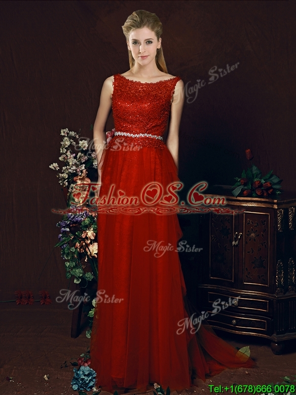 Popular Belted Empire Scoop Red Prom Dress with Brush Train
