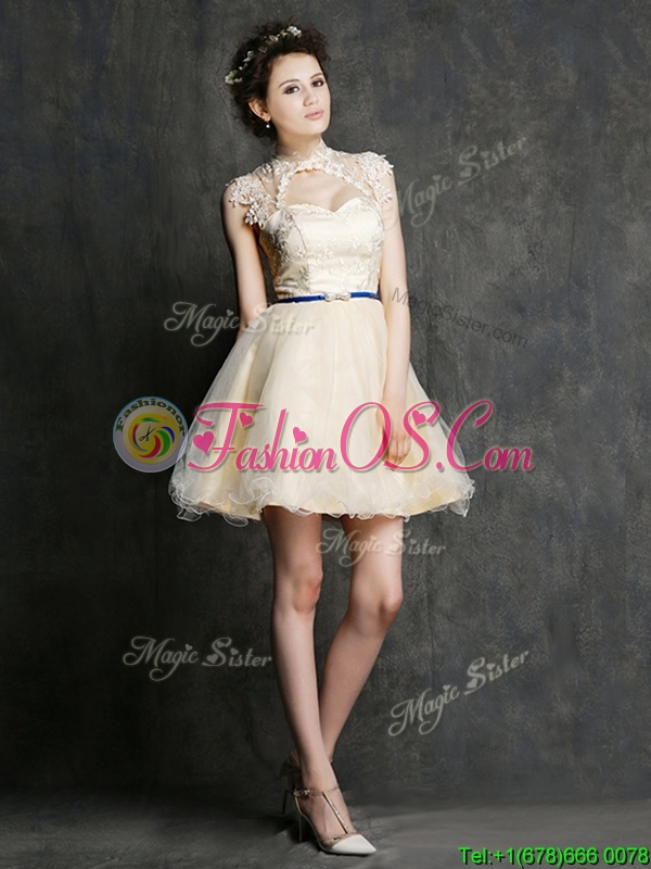 See Through High Neck Short Bridesmaid Dress with Sashes and Lace