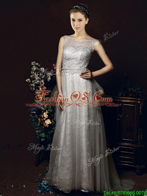 Exclusive See Through Belted Brush Train Bridesmaid Dress in Tulle