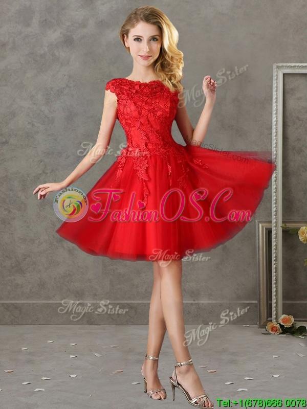 Romantic Bateau Cap Sleeves Short Bridesmaid Dress with Lace