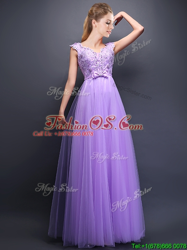 Unique V Neck Tulle Bridesmaid Dress with Beading and Bowknot