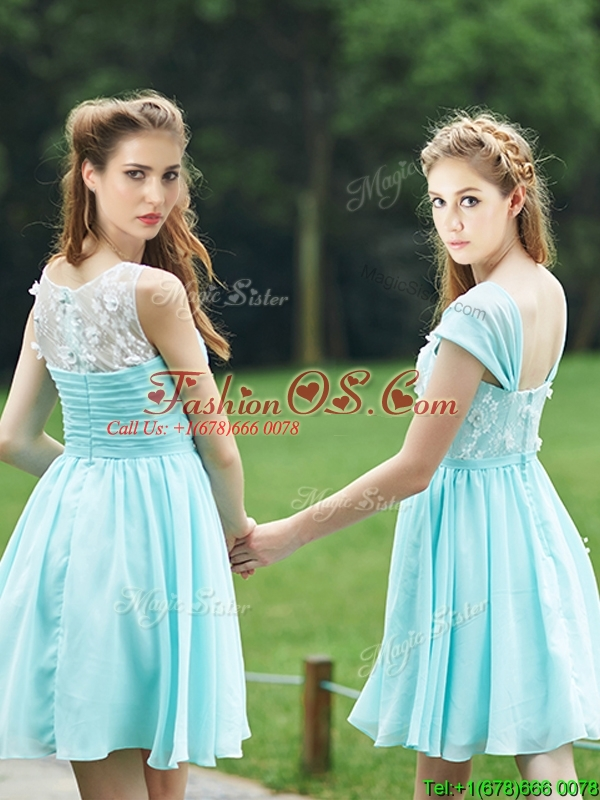 Discount  Mint Short Prom Dresses  with Appliques and Belt