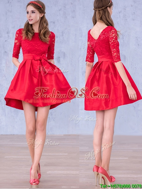 Romantic Bowknot and Laced Scoop Half Sleeves  Mother of the Bride Dresses  in Red