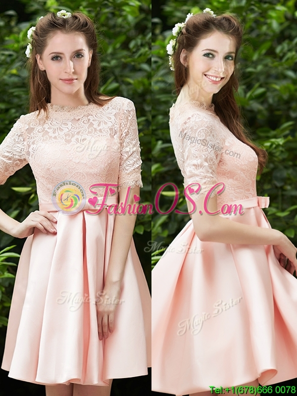 2016 Lovely High Neck Short Sleeves  Mother of the Bride Dresses  with Lace and Bowknot