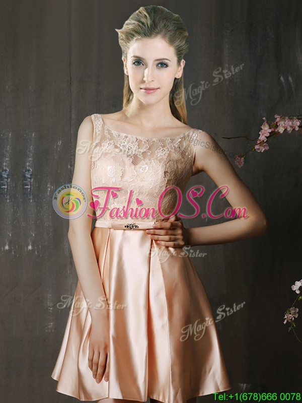 Best Selling Laced and Belted Short Mother of the Bride Dresses in Peach