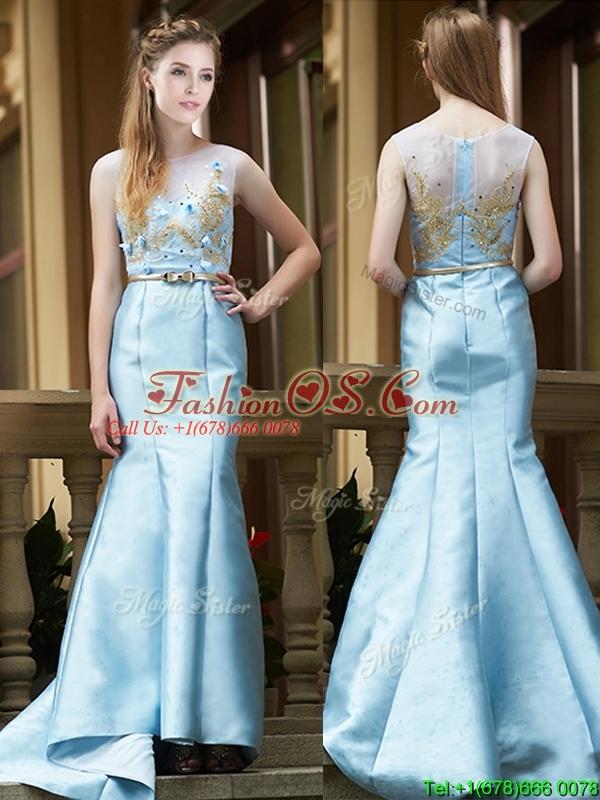 Modest Mermaid Applique Brush Train Mother of the Bride Dresses in Light Blue