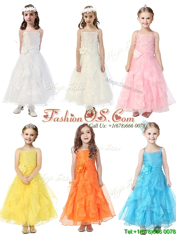Cheap Spaghetti Straps Flower Girl Dress with Hand Made Flowers and Ruffles