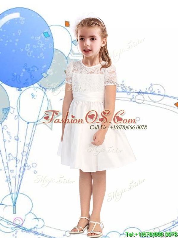 Classical Scoop Short Sleeves Champagne Flower Girl Dress with Lace and Belt