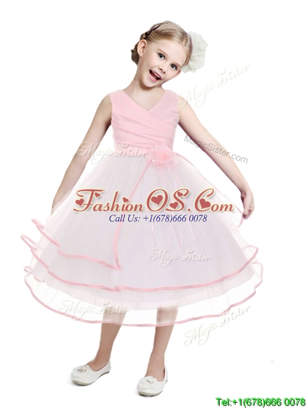Fashionable V Neck Flower Girl Dress with Hand Made Flowers and Ruffled Layers