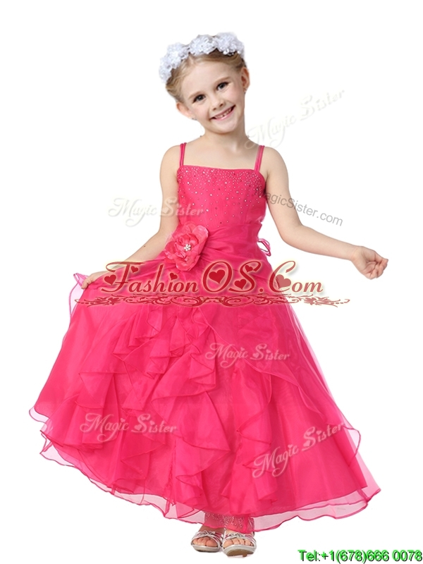 Gorgeous Spaghetti Straps Hand Made Flowers and Ruffles Flower Girl Dress in Organza