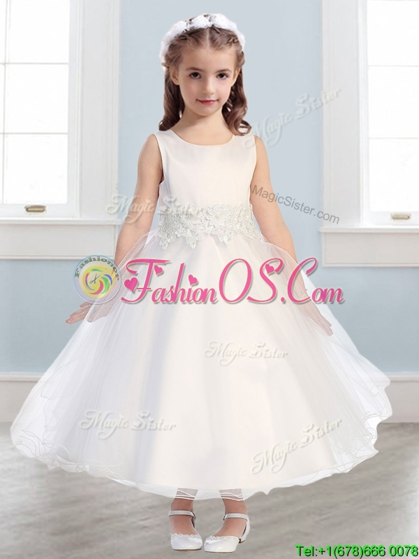 Lovely Scoop White A Line Flower Girl Dress in Appliques