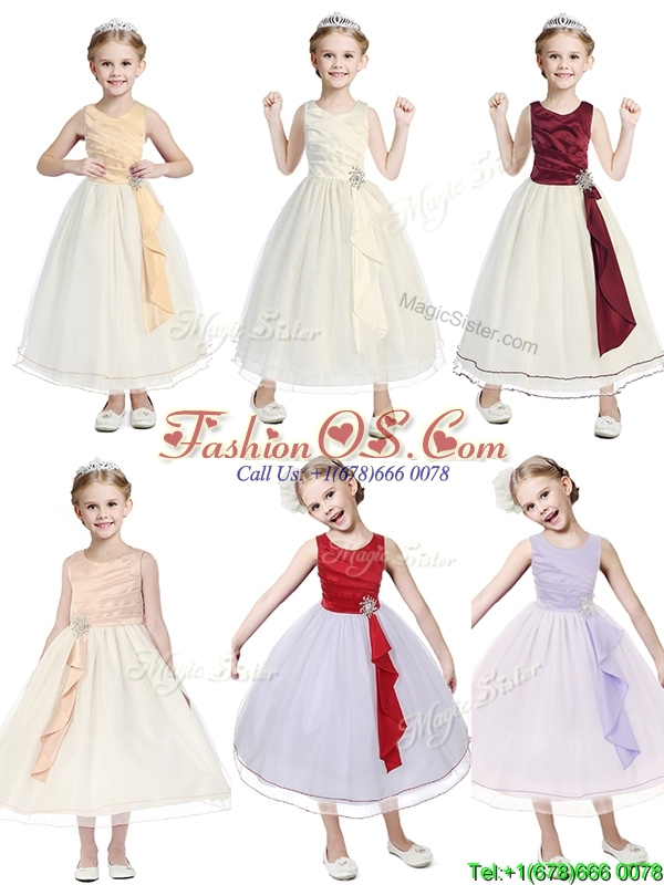 New Arrivals Scoop Tulle Flower Girl Dress with Beading