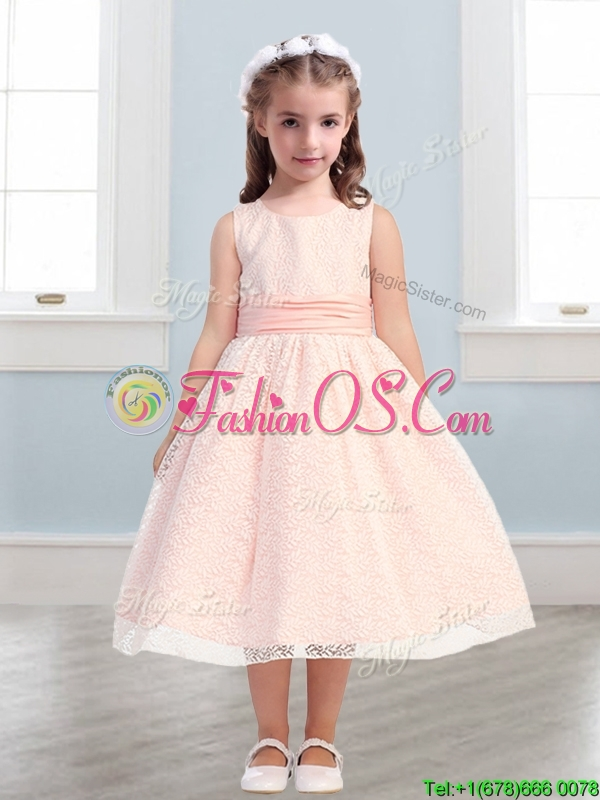 New Style Scoop Flower Girl Dress with Lace and Belt