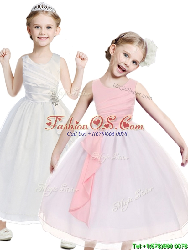 Popular Beaded Scoop Flower Girl Dress in Tea Length