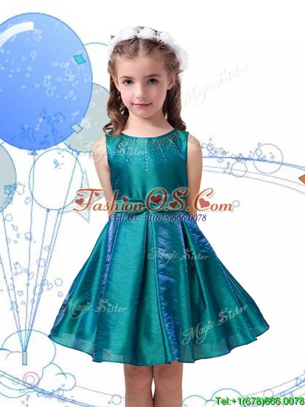 Romantic Scoop Organza Flower Girl Dress with Beading and Bowknot