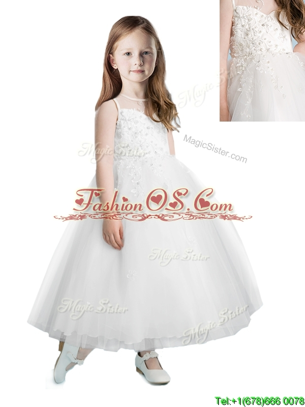 See Through Scoop Tulle Flower Girl Dress with Appliques