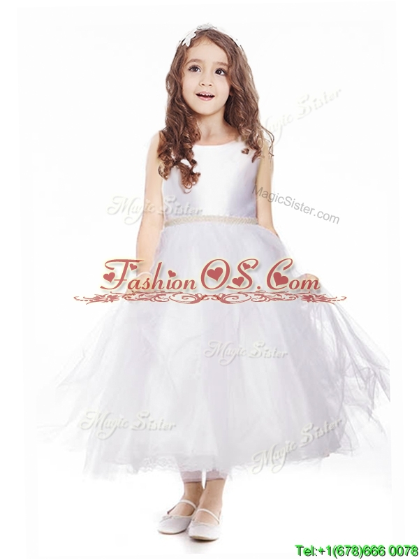 Simple Scoop Belt Tulle Flower Girl Dress in White