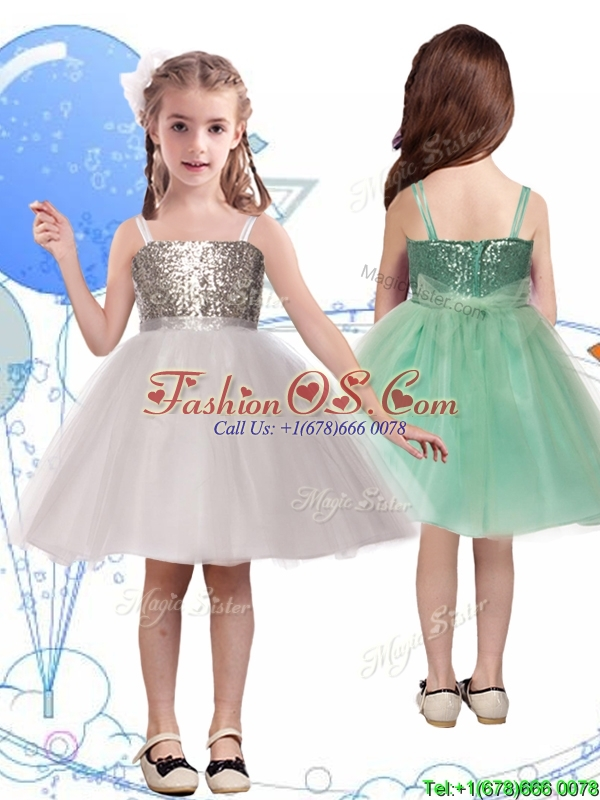 Wonderful Spaghetti Straps Flower Girl Dress with Sequins and Sashes