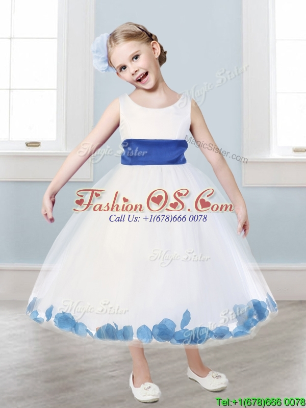 New Scoop Tulle Little Girl Pageant Dress with Sashes and Appliques