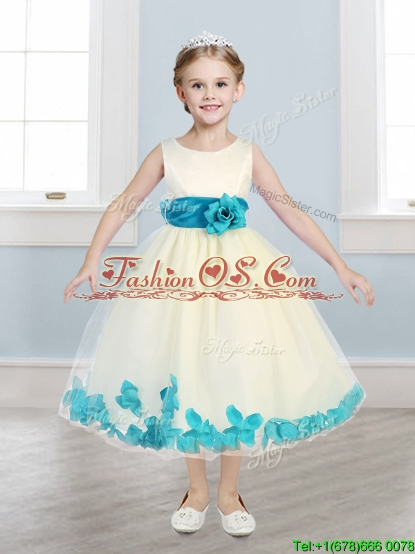 Lovely Scoop Little Girl Pageant Dress with Teal Hand Made Flowers