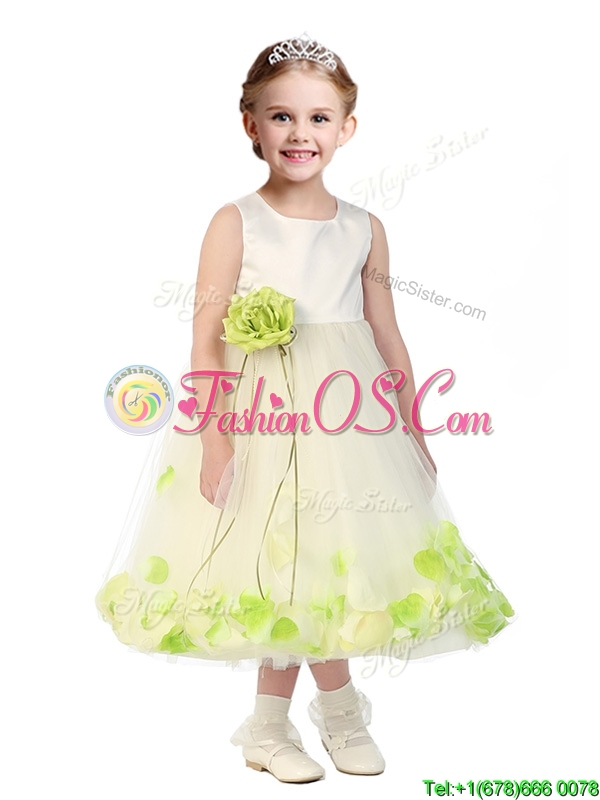 Popular Scoop Tulle Little Girl Pageant Dress with Hand Made Flowers and Appliques