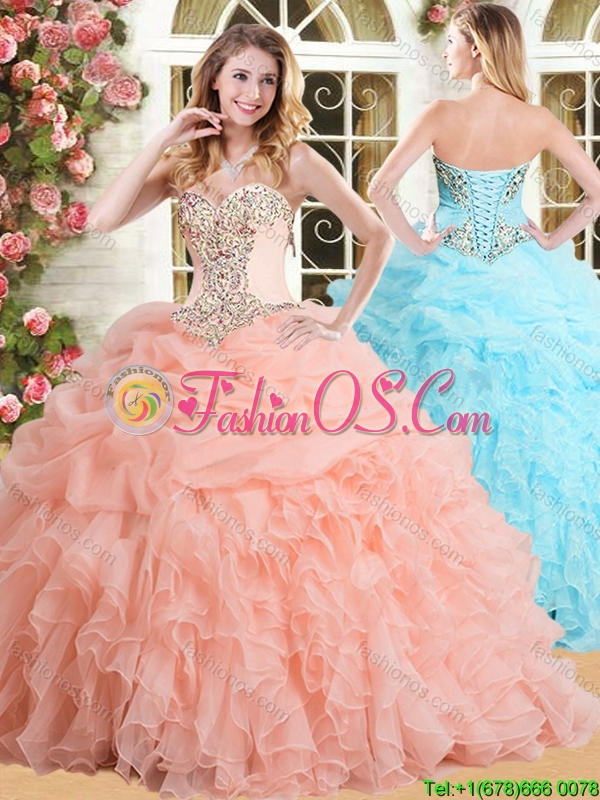 Modest Big Puffy Peach Quinceanera Dress with Appliques and Ruffles