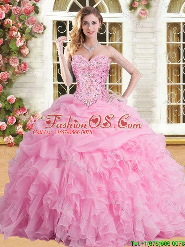 2016 Elegant Rose Pink Sweet 16 Dress with Appliques and Beading