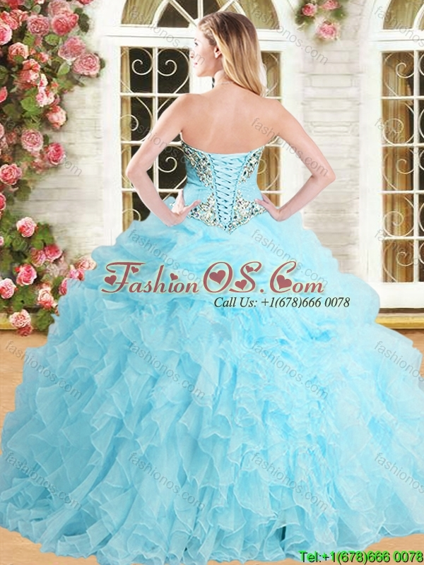 2016 Pretty Applique and Ruffled Quinceanera Dress in Spring Green for Spring
