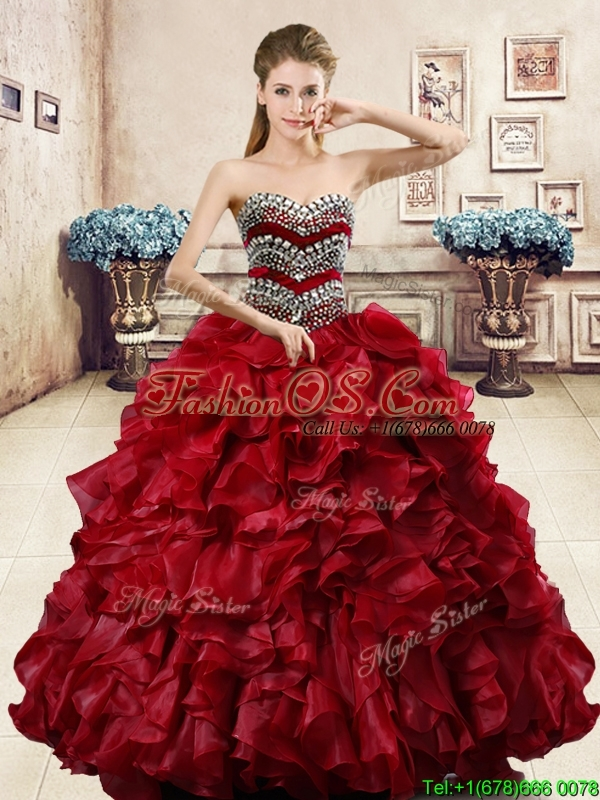 Affordable Wine Red Quinceanera Dress with Beading and Ruffles