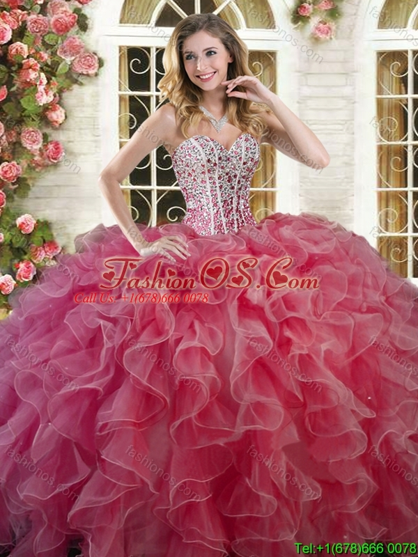 Beautiful Coral Red Big Puffy Quinceanera Dress with Ruffles and Beading