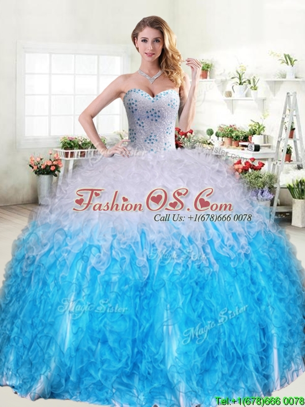 Cheap Beaded and Ruffled Quinceanera Dress in Blue and White