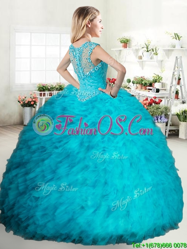 Cheap Beaded and Ruffled Turquoise Quinceanera Dress in Tulle