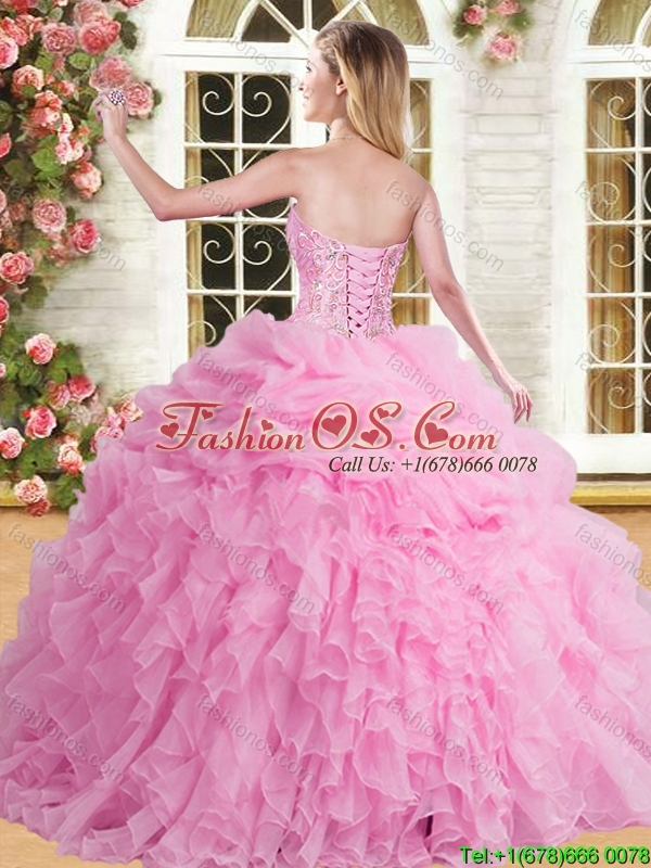Cheap Organza Peach Quinceanera Dress with Appliques and Ruffles