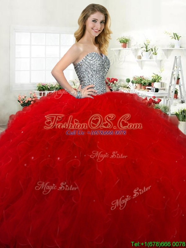 Classical Beaded and Ruffled Tulle Quinceanera Dress in Red