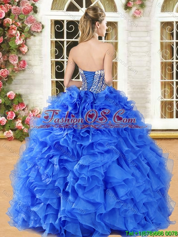 Discount Organza Royal Blue Quinceanera Gown with Beading and Ruffles