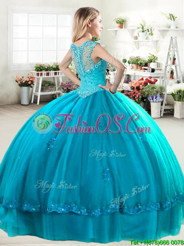 Discount Straps Royal Blue Quinceanera Dress with Beading and Appliques
