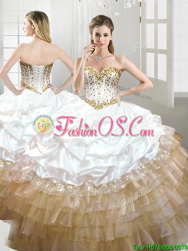 Fashionable Beaded and Pick Ups Quinceanera Dress in White and Gold