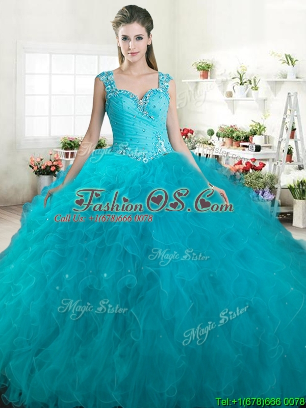 Gorgeous Straps Beaded and Ruffled Quinceanera Dress in Turquoise