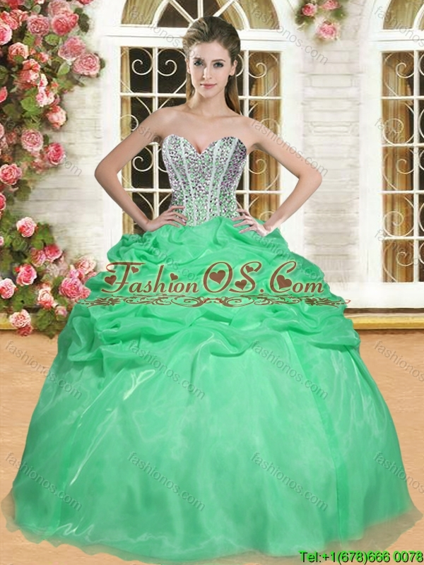 Latest Beaded and Ruffled Organza Quinceanera Dress in Spring Green
