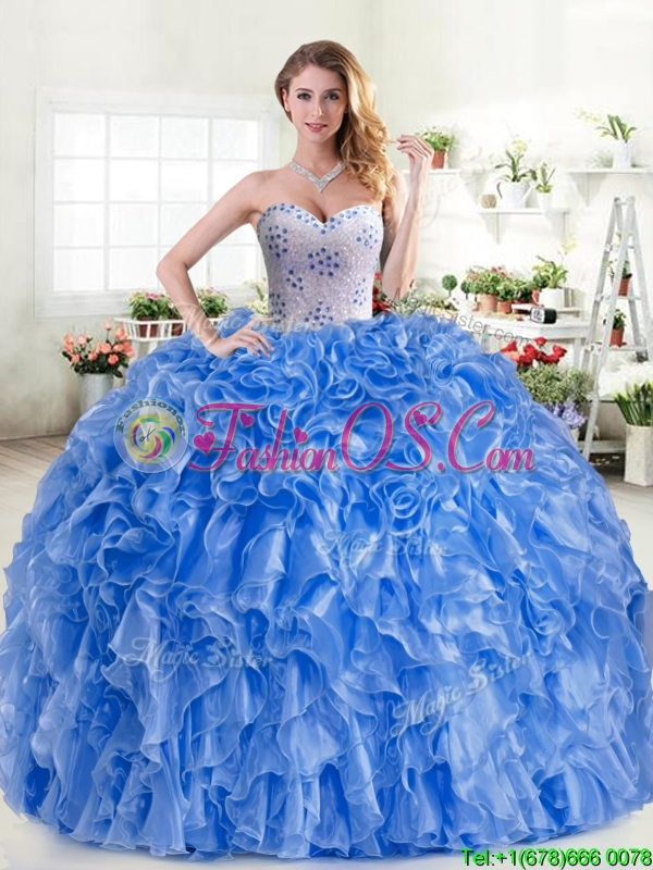 New Arrivals Beaded and Ruffled Blue Quinceanera Dress in Organza